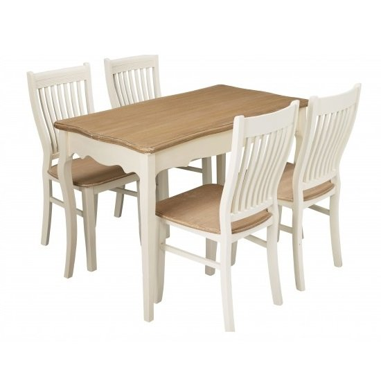 Set Of 4 Country Cream Dining Chairs: Julian Wooden 4 Seater Dining Set In Cream And Pine 27535