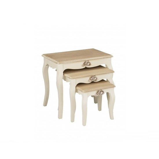 Julian 3 Nesting Tables In Cream And Distressed Wooden Effect