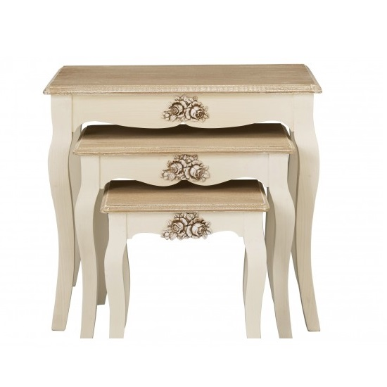 Julian 3 Nesting Tables In Cream And Distressed Wooden Effect_2