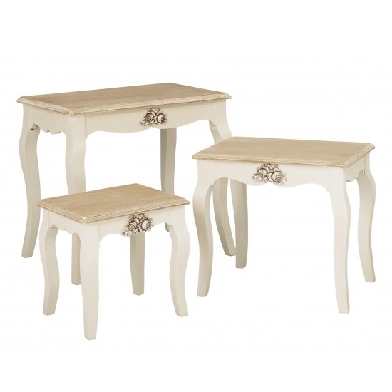 Julian 3 Nesting Tables In Cream And Distressed Wooden Effect_3