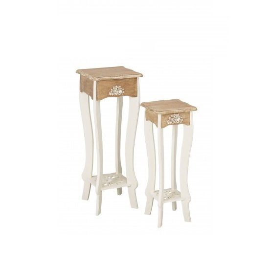 Julian Plant Stands In Cream And Distressed Wooden Effect