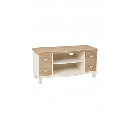 Julian TV Stand In Cream And Distressed Wooden Effect