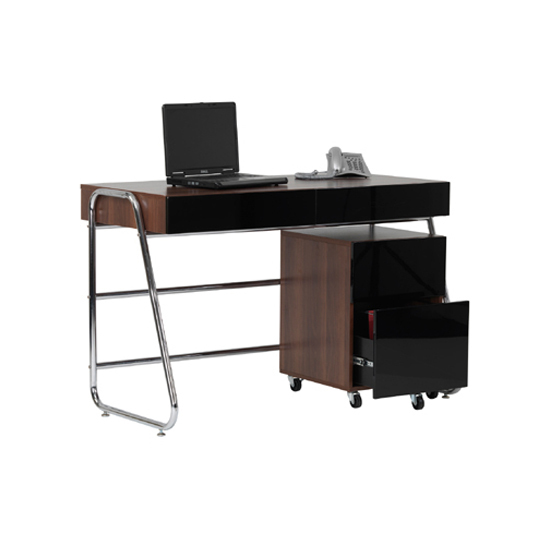 Read more about Juo computer desk in walnut gloss black front with 2 drawers