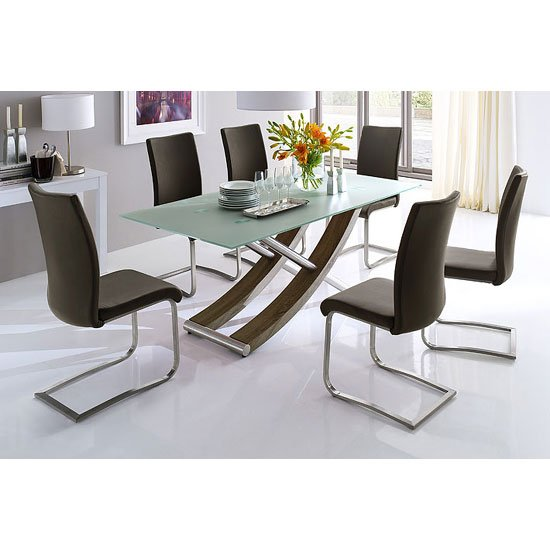 Kaleo Glass Top Oak Base Dining Table With 6 Arco Dining Chairs