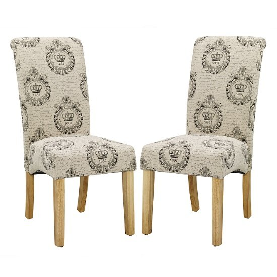 Autumn Dining Chair In Regal Style Fabric And Oak legs in A Pair