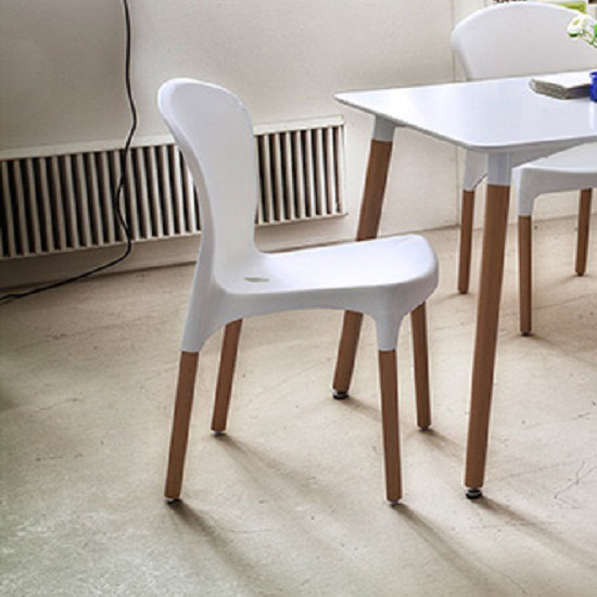 Kyle Dining Chair In Matt White Finish With Solid Beech Legs