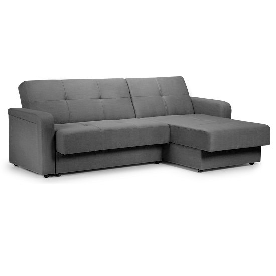 Bern Reversible Corner Sofa Bed In Turin Grey Fabric And Storage