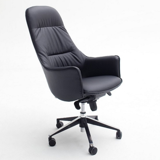 Kareno home office chair in black faux leather with arm for Home office chairs leather