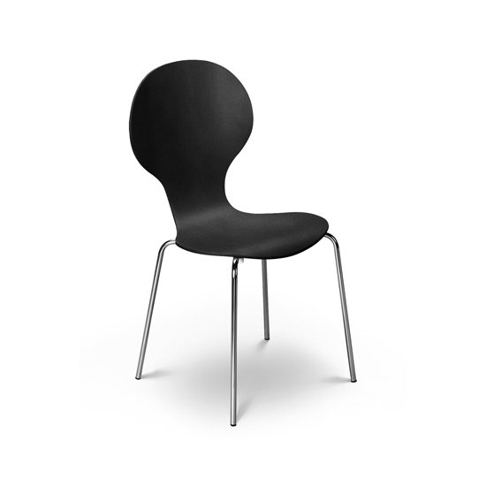 Keeler Wooden Bistro Chair In Black With Chrome Legs