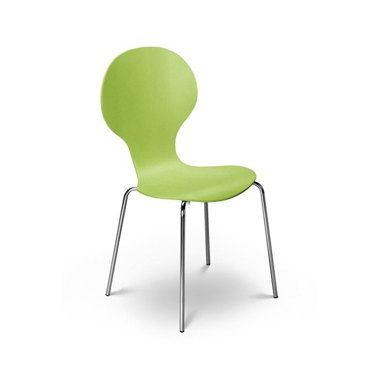 Keeler Wooden Bistro Chair In Green With Chrome Legs