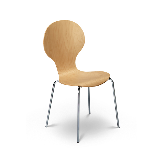 Keeler Wooden Bistro Chair In Maple With Chrome Legs