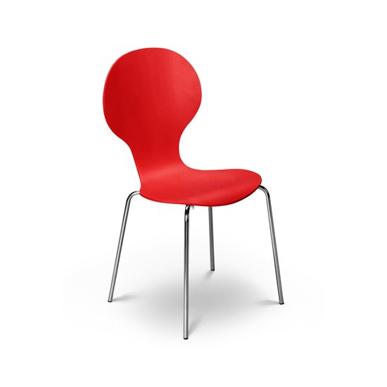 Keeler Wooden Bistro Chair In Red With Chrome Legs