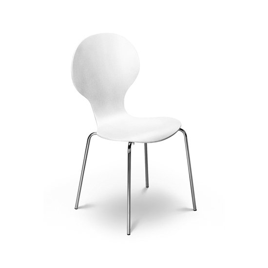 Keeler Wooden Bistro Chair In White With Chrome Legs 8908