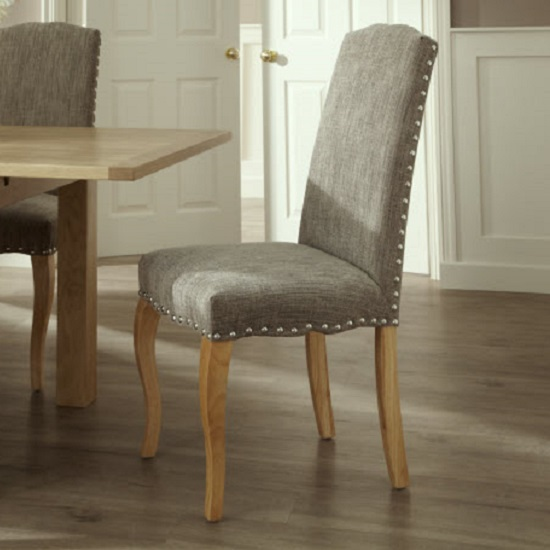Ruby Dining Table In Oak With 4 Madeline Chair In Bark Fabric_6