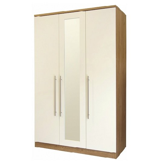 Kevin Wooden Wardrobe In Cream Gloss Fronts With 3 Doors