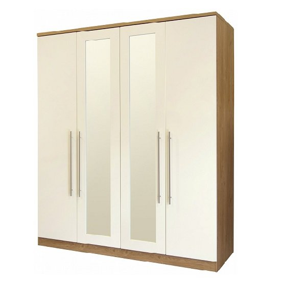 Kevin Mirrored Wardrobe In Cream Gloss Fronts With 4 Doors