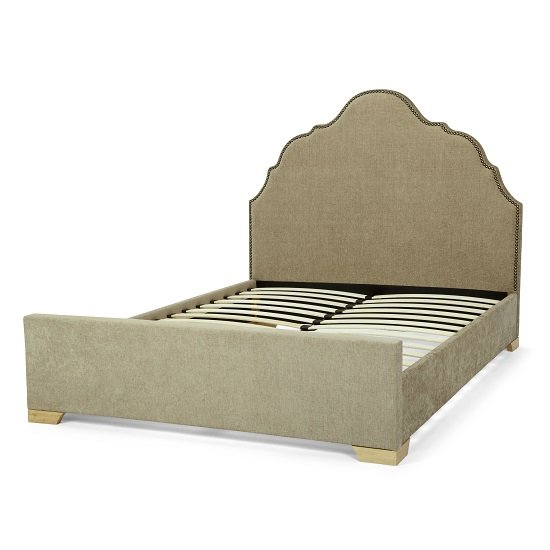 Lorence Bed In Fudge Fabric With Wooden Legs_3