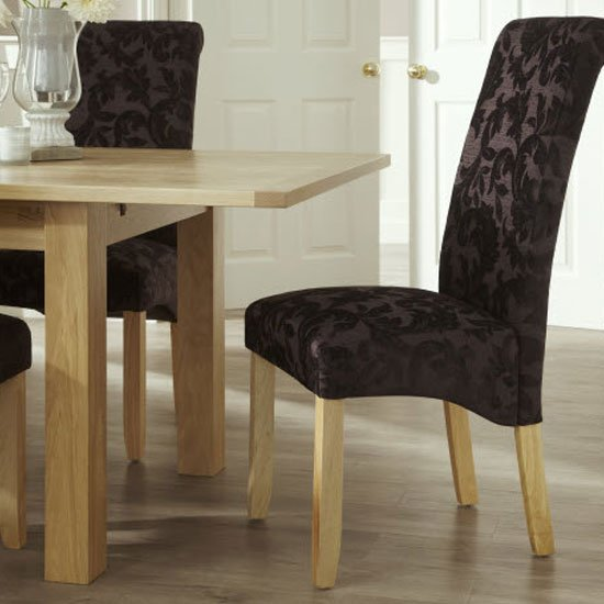 Ameera Dining Chair In Floral Aubergine Fabric And Oak in A Pair_6
