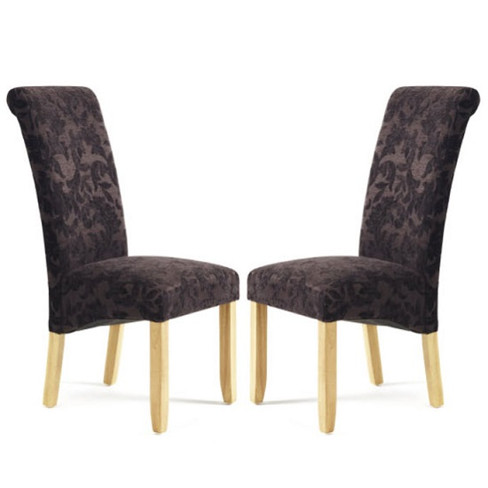 Ameera Dining Chair In Floral Aubergine Fabric And Oak in A Pair