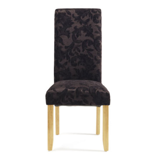 Ameera Dining Chair In Floral Aubergine Fabric And Oak in A Pair_2