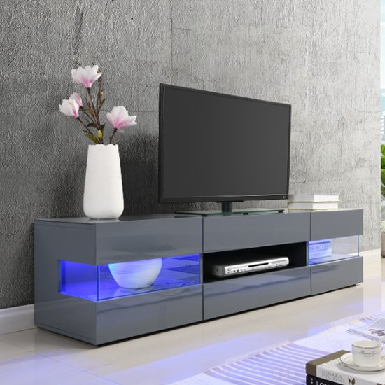 Kirsten Wooden TV Stand In Grey High Gloss With LED