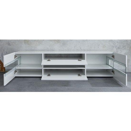 Kirsten Wooden TV Stand In White High Gloss With LED_5