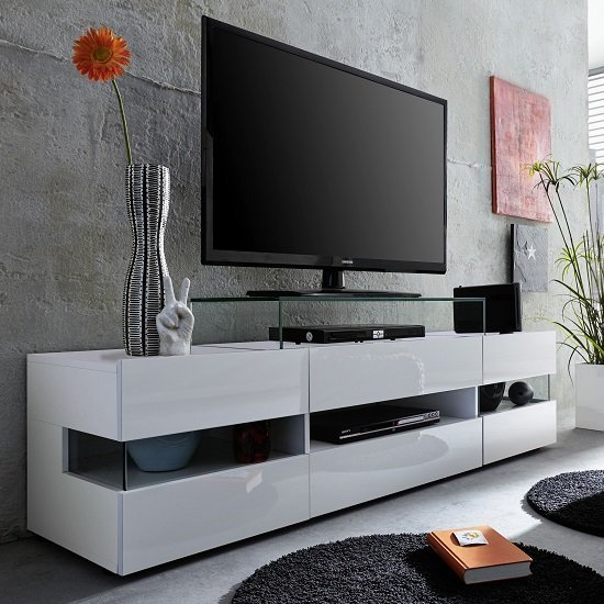 Kirsten Wooden TV Stand In White High Gloss With LED_6