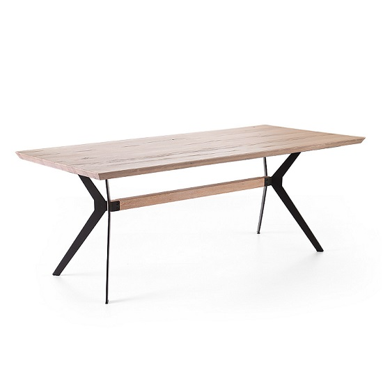 Avantis Dining Table Rectangular In Oak With Metal Frame