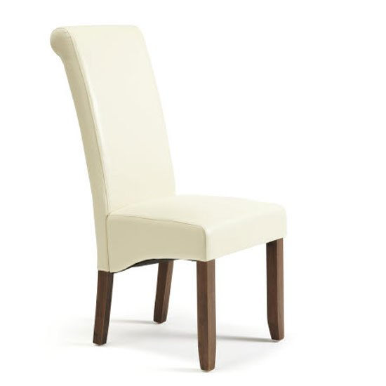 Ameera Dining Chair In Cream Faux Leather In Walnut Legs