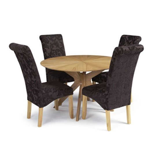 Ameera Dining Chair In Floral Aubergine Fabric And Oak in A Pair_8
