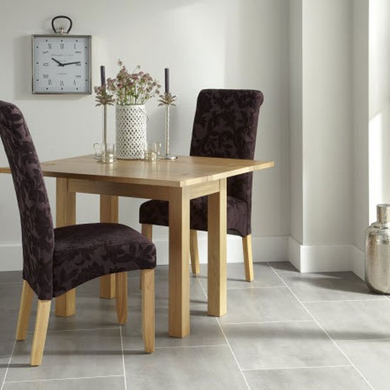 Ameera Dining Chair In Floral Aubergine Fabric And Oak in A Pair_9