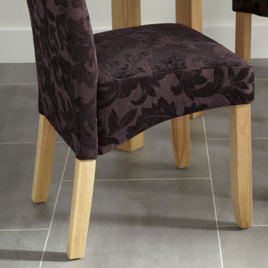 Ameera Dining Chair In Floral Aubergine Fabric And Oak in A Pair_10