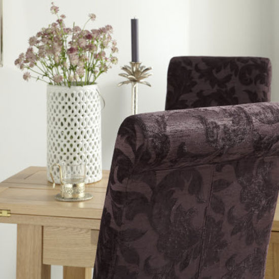 Ameera Dining Chair In Floral Aubergine Fabric And Oak in A Pair_7