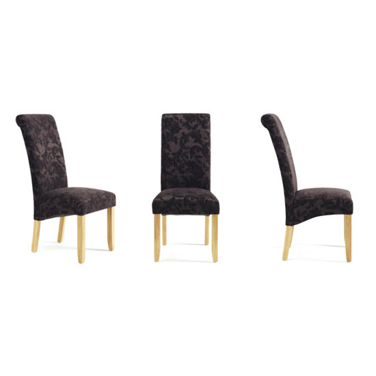 Ameera Dining Chair In Floral Aubergine Fabric And Oak in A Pair_5