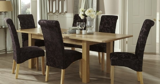 Ameera Dining Chair In Floral Aubergine Fabric And Oak in A Pair_13