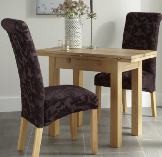 Ameera Dining Chair In Floral Aubergine Fabric And Oak in A Pair_12