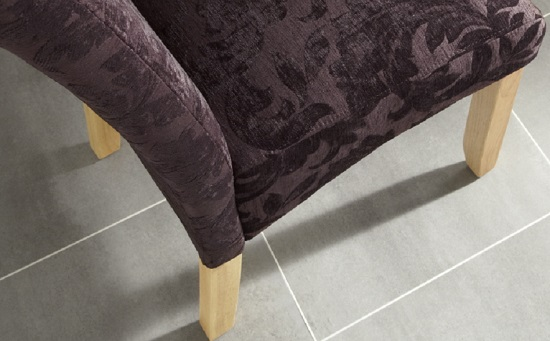 Ameera Dining Chair In Floral Aubergine Fabric And Oak in A Pair_14