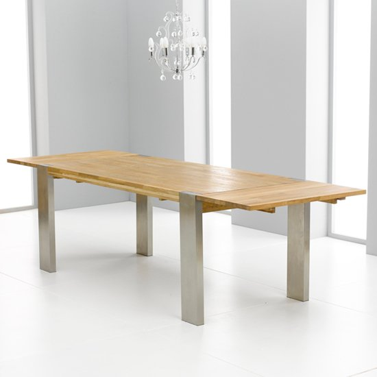 Louis Extending Dining Table In Solid Oak With Chrome