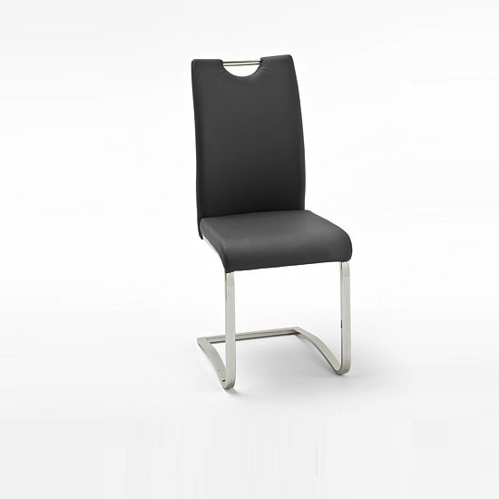 Koln Dining Chair In Black Faux Leather With Chrome Legs_1