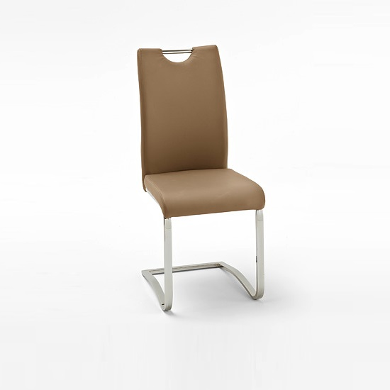 Koln Dining Chair In Cappuccino Faux Leather With Chrome Legs