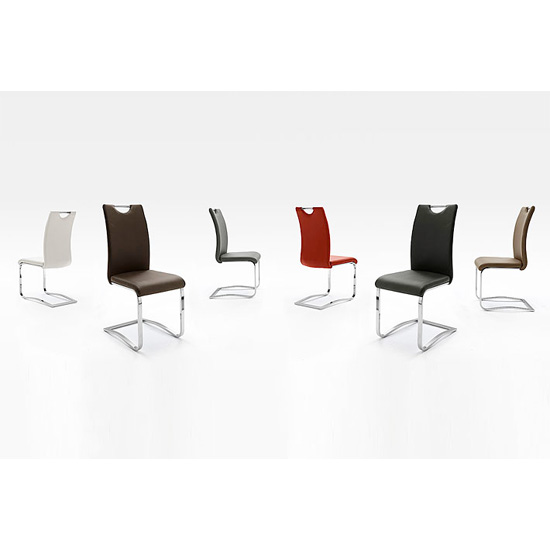 Koln Dining Chair In Black Faux Leather With Chrome Legs_2