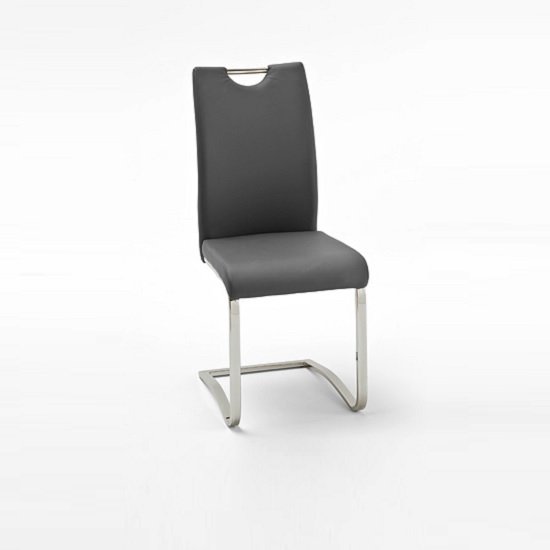 Koln Dining Chair In Grey Faux Leather With Chrome Legs_1