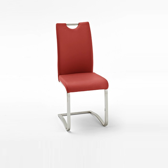 Koln Dining Chair In Red Faux Leather With Chrome Legs_1
