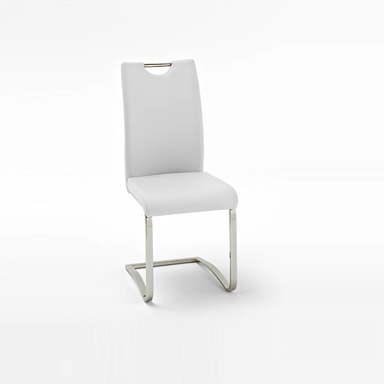 Koln dining chair in white faux leather with chrome legs for White chrome dining chairs