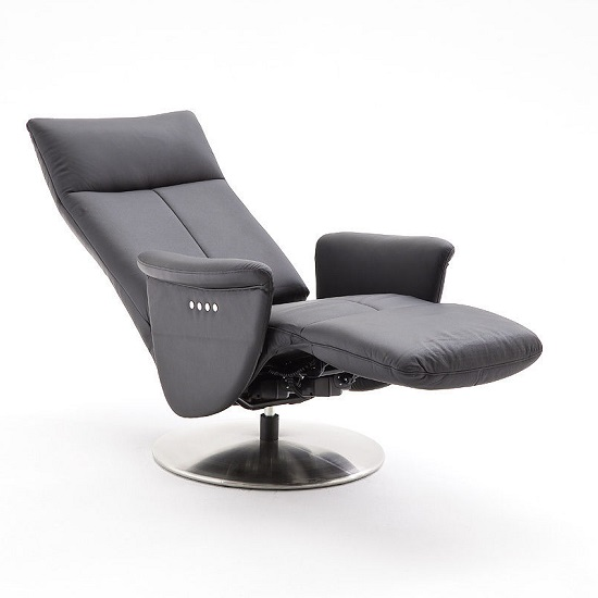 Korino Recliner Chair In Black Leather With Stainless Steel