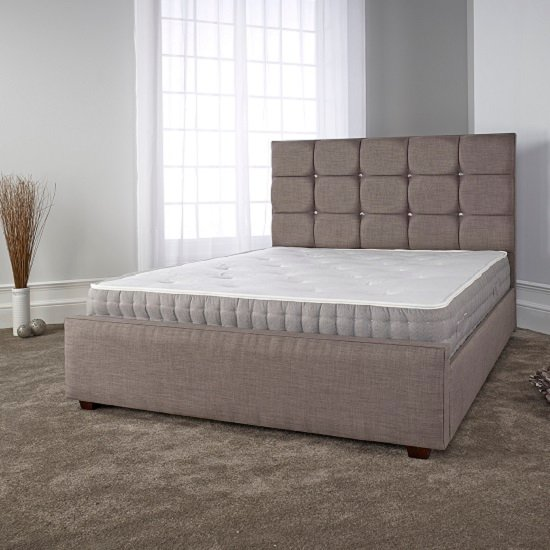 Lawrence Modern Bed In Slate Fabric With Wooden Feet_1