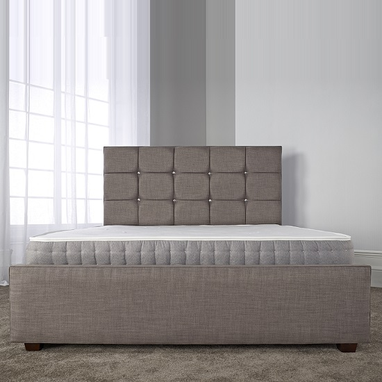 Lawrence Modern Bed In Slate Fabric With Wooden Feet_2