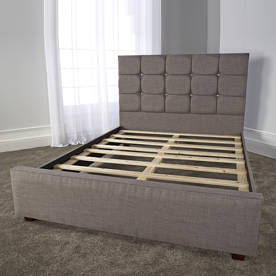 Lawrence Modern Bed In Slate Fabric With Wooden Feet_4