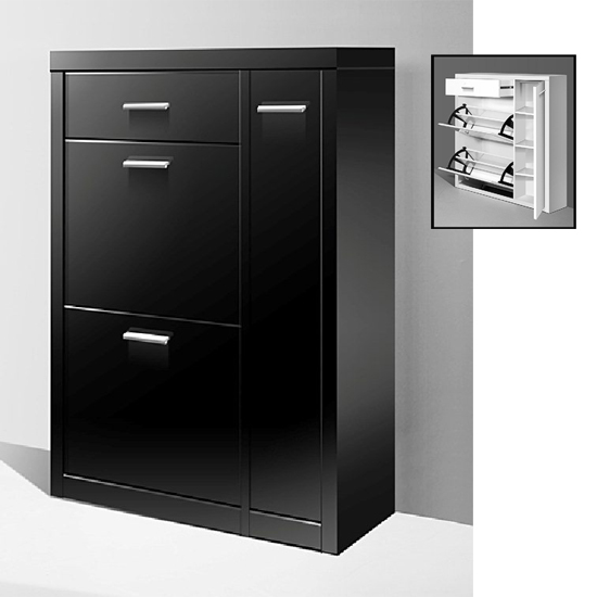 lazio shoe cabinet with doors in high gloss black