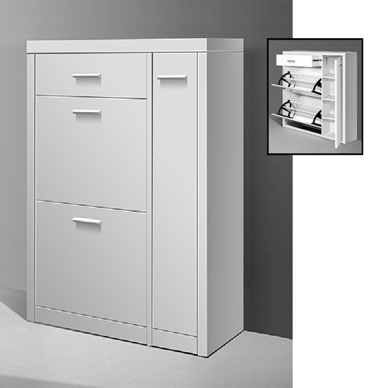 lazio wooden shoe cabinet in high gloss white
